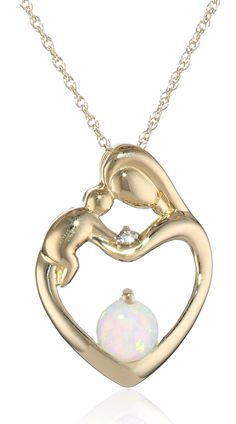 First mothers day gift 10k white gold mother and baby heart 10k yellow gold mother and child created opal heart pendant necklace with diamond accent 18 aloadofball Images
