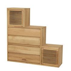 Meuble escalier 2 portes et 4 tiroirs en chêne Naturel - Aronde - Bibliothèques et étagères - Tout pour le rangement - Décoration d'intérieur - Alinéa