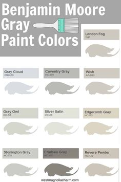 The BEST Benjamin Moore Gray Paint Colors - West Magnolia Charm Looking for a gray paint color from Benjamin Moore? Use one of these beautiful warm and cool tones grays by Benjamin Moore.