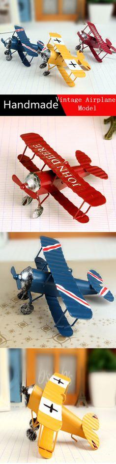 2016 New arrival Vintage Metal Plane Model Iron Retro Aircraft Glider Biplane Aeromodelo Pendant Airplane Model Home Decoration $10