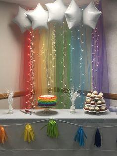 Rainbow Parties, Rainbow Birthday Party, Unicorn Birthday Parties, Baby Birthday, Rainbow Theme Baby Shower, Rainbow Baby, Baby Shower Themes, Birthday Party Decorations Diy, Kids Party Themes