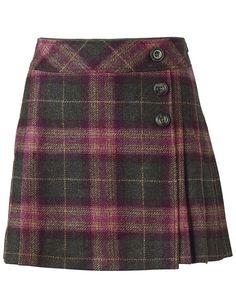 Women's Keira Skirt in Plum Checkfrom Crew Clothing