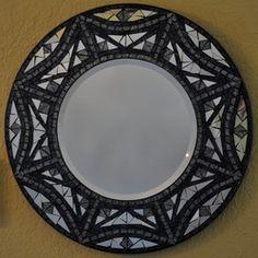 Beautiful round black and white mosaic mirror frame