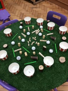 This looks a bit chaotic, but the children enjoyed sorting the Phase 2 phonemes into the respective ice cream pots. As a challenge I wrote decodable cvc words on lollipop sticks for the children to read and to sort based on their initial sounds.