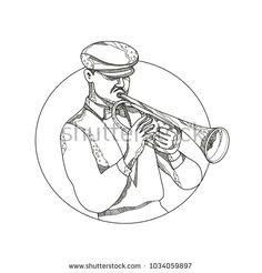 Doodle art illustration of a classical jazz musician playing a trumpet wearing a flat cap or cabbie cap set inside circle in black and white done in mandala style. Jazz Musicians, Flat Cap, Trumpet, Doodle Art, New Pictures, Royalty Free Photos, Mandala, Illustration Art, Doodles