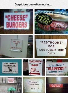 Funny pictures about Those Quotation Marks Look Suspicious. Oh, and cool pics about Those Quotation Marks Look Suspicious. Also, Those Quotation Marks Look Suspicious photos. Haha Funny, Funny Cute, Funny Memes, Funny Stuff, Random Stuff, Funny Typos, Funny Videos, Random Things, Haha