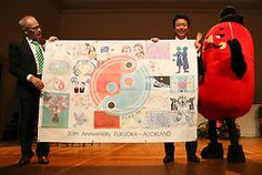 Mayor of Auckland City Len Brown (L), Fukuoka City Mayor Soichiro Takashima and…