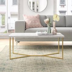 Foundstone Devito Cross Legs Coffee Table with Storage Colour: Marble & Chrome White Area Rug, Blue Area Rugs, Coffee Table Wayfair, Etagere Bookcase, Coffee Table With Storage, Coffee Tables, Chaise Sofa, Sofa Bed, Upholstered Dining Chairs