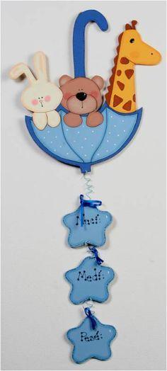 para decorar el cuarto Foam Crafts, Baby Crafts, Diy And Crafts, Crafts For Kids, Paper Crafts, Baby Shawer, Baby Kind, Baby Door Hangers, Shower Bebe