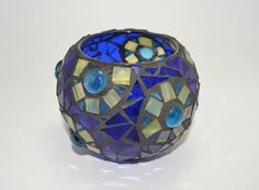 Blue mosaic candle holder by RebelGlassWorks on Etsy, $15.00