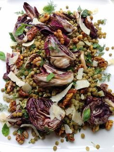 Warm lentil, radicchio and honeyed walnut salad (with chili, tumeric ...