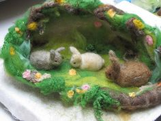 Felted bunnies for Spring nature table by Ketti Ben-eli Shevach Needle Felted Animals, Felt Animals, Wet Felting, Needle Felting, Felt Crafts, Easter Crafts, Spring Nature Table, Felt Play Mat, Waldorf Crafts