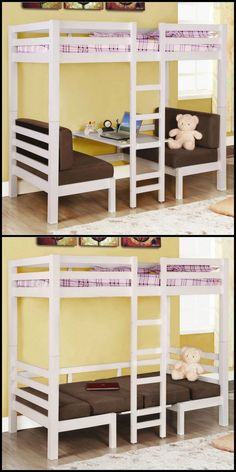 Deciding to Buy a Loft Space Bed (Bunk Beds). – Bunk Beds for Kids Bunk Bed With Desk, Loft Bunk Beds, Bunk Beds With Stairs, Kids Bunk Beds, Bunk Rooms, Sharing Bed, Contemporary Bed Linen, Bunk Bed Designs, Loft Spaces