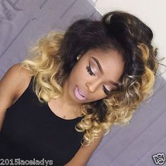 """Ombre Blonde 360 Lace Frontal Closure Brazilian Human Hair Wavy 10""""-20"""""""