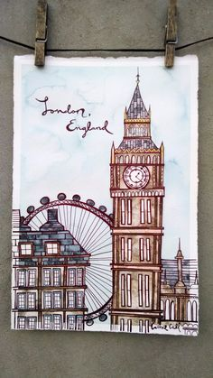 - Artwork from my home to yours by TheWeatheredWall Cool Art Drawings, Pencil Art Drawings, Art Sketches, City Art, Art And Illustration, London Drawing, City Drawing, Arte Sketchbook, Bullet Journal Art