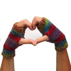 Fingerless Gloves Knit Mittens Autumn Days by EweniqueEssentials, $27.00