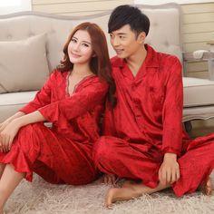a03f4b49ca Online Shop Faux silk mens pajama sets men sleepwear male sleep lounge  Chinese red wedding Pijamas for women couple pajamas female pyjamas