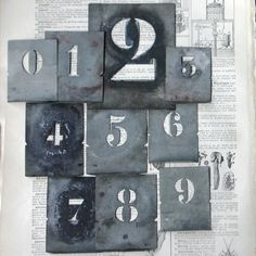 Vintage stencil numbers Complete 0 to 9 by MademoiselleChipotte, $39.95