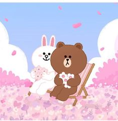 Cony Brown, Bunny And Bear, Cute Couple Art, Brown Line, Emoji Faces, Line Friends, Kawaii Art, Line Sticker, Love Wallpaper