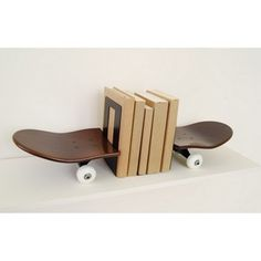 Skateboard can end up as book ends in its afterlife.