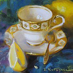 Gold and Yellow by Elena Katsyura Oil ~ 6 x 6