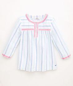 Shop Girls Petite Stripe Embroidered Top at vineyard vines
