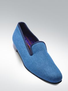 Cotton velvet, satin quilted lining, leather sole, hand made in England. MATTHEW COOKSON