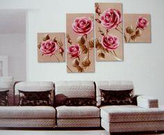 Rózsák, 4 részes, 3D falmatricaszett