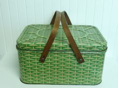 Vintage Tin Metal Picnic Basket Lithograph Basket Weave with Wooden Handles