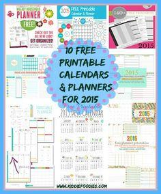How to get organized - 10 free printable calendars and planners for 2015 #calendars, #planners, #freeprintable, #organization