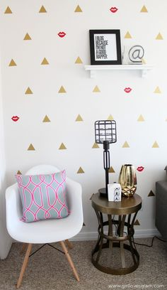 Modern Office Geometric Wall Design with Triangles and Kiss Marks on www.girllovesglam.com