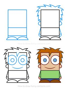 Create a fun child clipart using this simple drawing tutorial featuring a basic character made from rectangles, circles and squares.