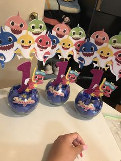 1st Birthday Girl Decorations, 2nd Birthday Party For Girl, Shark Party Decorations, Birthday Party Centerpieces, Girl Birthday Themes, Birthday Ideas, Underwater Birthday, Baby Shark, Party Ideas