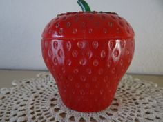 Vintage Strawberry Milk Glass Jam Jar