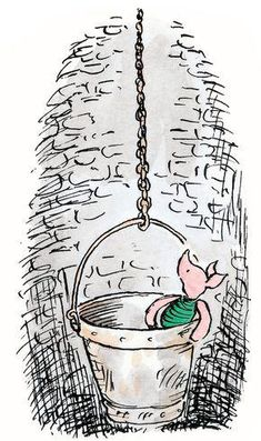 Piglet, peering over the top of the bucket, could see the faces of his friends growing smaller and smaller