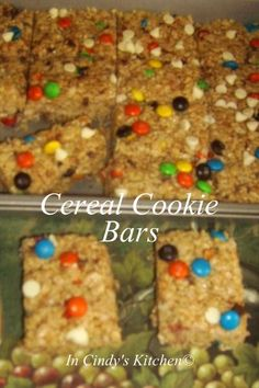 In Cindy's Kitchen: Cereal Cookie Bars: Rice Crispy Treat Upgraded