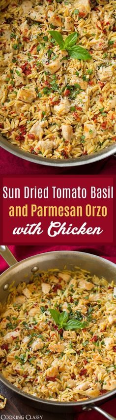 Sun Dried Tomato Basil and Parmesan Orzo with Chicken – Cooking Classy Sun Dried Tomato Basil and Parmesan Orzo with Chicken – cooked in one pan, SO easy to make, ready in 30 and so unbelievably delicious! Definitely a repeat recipe! Pasta Dishes, Food Dishes, Recipes With Orzo Pasta, Orzo Salad Recipes, Main Dishes, Parmesan Orzo, Parmesan Noodles, Cooking Recipes, Risotto
