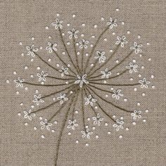 This contemporary seed head is embroidered using three simple stitches on an outline printed cotton background Hand Embroidery Patterns Flowers, Embroidery Flowers Pattern, Hand Embroidery Stitches, Embroidery Kits, Ribbon Embroidery, Crewel Embroidery, Hand Work Embroidery, Couture Embroidery, Indian Embroidery