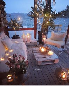 My idea of a perfect chill out space; cosy seats fairy lights candles right next to the sea! My idea of a perfect chill out space; cosy seats fairy lights candles right next to the sea! […] decoration for home Home Design, Decor Interior Design, Interior Decorating, Design Ideas, Patio Design, Bohemian Decorating, Decorating Ideas, Terrace Design, Pergola Designs