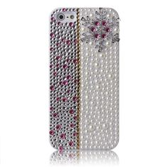 iPhone 5/5S - Delicate Rhinestone 3D Lavender & Silver Bling Snowflake Case  - Thumbnail 2