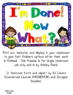 """FREE """"I'm Done, Now What"""" task cards for classroom"""
