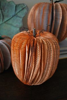 Pumpkin Decorations Made from Recycled Books - Fall craft night? Diy Pumpkin, Pumpkin Crafts, Fall Crafts, Holiday Crafts, Holiday Fun, Pumpkin Books, Fall Halloween, Halloween Crafts, Old Book Crafts