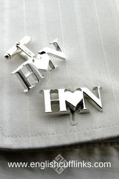 We make these bespoke initial cufflinks entirely by hand so they can be in any style you require. Each pair is unique and can be made in sterling silver, or yellow gold, white gold, or platinum. Wedding Gifts For Groomsmen, Bridesmaids And Groomsmen, Groomsman Gifts, Bridesmaid Gifts, Wedding Shower Gifts, Gifts For Wedding Party, Wedding Favours, Party Gifts, Wedding Ring For Her
