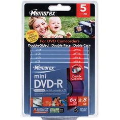 Memorex 4X Double-sided Write-once Mini DVD-R Blister Pack by Memorex. $21.33. Memorex Double-Sided Mini DVD-R media offers the highest capacity in the mini DVD format, providing up to one hour of recording time or 2.8GB of storage capacity for preserving precious memories and valuable data. Ideal for home video enthusiasts and professional videographers, Memorex Double-Sided Mini DVD-R discs provide the convenience of one disc for capturing twice the video, photos,...