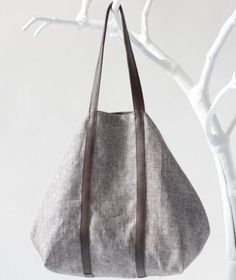 Linen Shopper in BrownWhite with Twin Top Handels in by alexbender on Etsy
