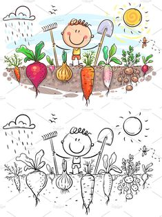Vegetable Design, Vector File, Outline, Farmer, Snoopy, Canning, Black And White, Vegetables, Happy