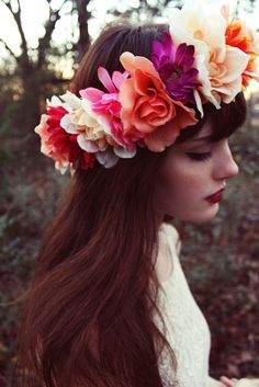 flowers in her hair - love the colors