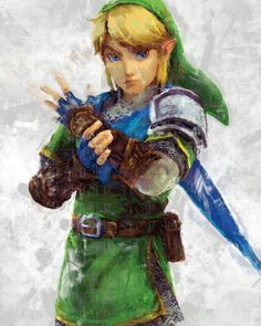 """Link redone in a Grunge Brush Paint Style  Image size: 12""""x18""""  Paper size: 12""""x18""""  paper  Signed Photo Gloss or Matte  Real poster does not have the watermark"""