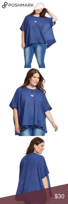 NWT Melissa McCarthy Seven7 Button-Back Boxy Tee Melissa McCarthy Seven7 Button-Back Boxy Tee. Size Large. Smoke free home.  Melissa McCarthy Seven7 Button-Back Boxy Tee  Balance out skinny jeans, pencil skirts and leggings with a flowingdraped top. This button-back beauty is the perfect fusion of comfy and casual, yetoffersfinished details for a dressy appeal. Add your favorite accessories and make loose and lovely your signature seasonal style. Melissa McCarthy Seven7 Tops Blouses