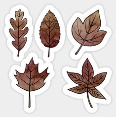 Brown Leaves Sticker by Olooriel on TeePublic Brown Leaves Sticker by on TeePublic Homemade Stickers, Diy Stickers, Printable Stickers, Laptop Stickers, Journal Stickers, Scrapbook Stickers, Planner Stickers, Preppy Stickers, Tumblr Stickers